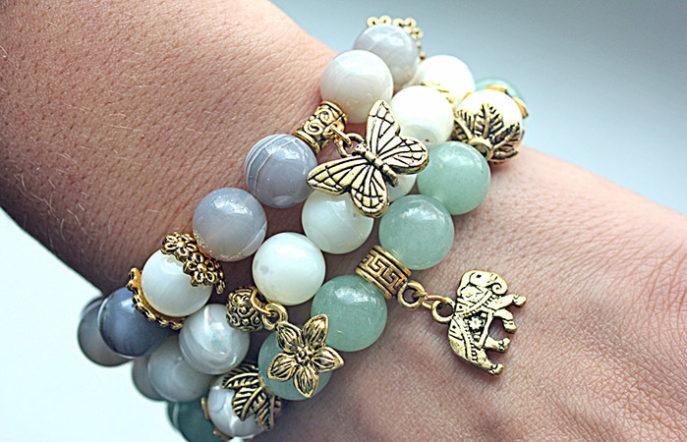 Необычные браслеты: купить браслеты из натуральных камней на резинке, браслеты с камнями в коже