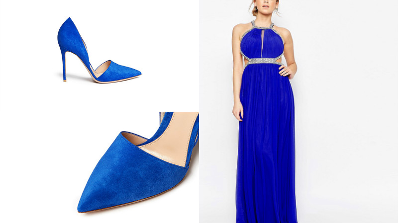 Какие туфли одеть под синее платье